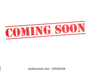 COMING SOON rubber stamp over a white background.