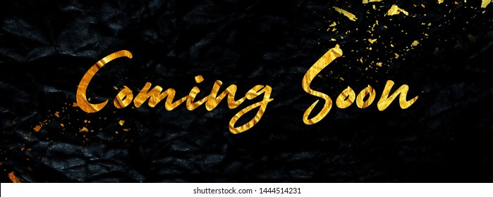 Coming Soon Social Media Banner in Gold sprayed Letters