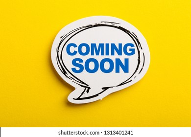 Coming Soon speech bubble isolated on the yellow background.