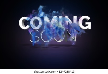 Coming Soon Text With Blast and Smoke Effect on Dark Background in 3D Style.