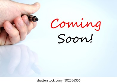 Coming soon text concept isolated over white background