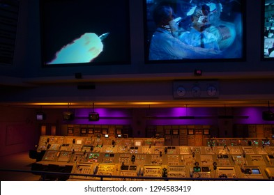 Command station for launching missiles. Space missions control center of NASA. Florida, Usa. 03/17/2014. John F. Kennedy Space Center. Workstations to monitor the proper functioning of the spacecraft