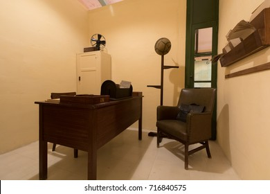 commanders offices overlooking the main map room during world war two, Interior Headquarters Lascaris War Rooms, Valletta, Malta, June 2017