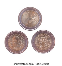 Commemorative 2 EUR coins currency of the European Union, bearing the portrait of Galileo Galilei (Italy 2014) and Cyril and Methodius (Slovakia 2013)