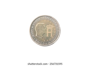 Commemorative 2 euro coin of Luxembourg minted in 2004 isolated on white