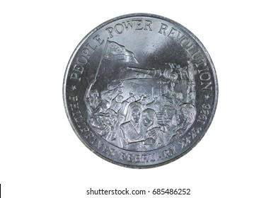 Commemorative coin featuring the People Power revolution in Edsa during February of 1986.