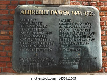 Commemorative plaque in honor of Albrecht Durer. 1471-1528. On the front of the house where he lived from 1520 to 1521. Bilingual Flemish-German. Antwerp Belgium May 2016.