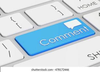 Comment blue keyboard button, 3D rendering