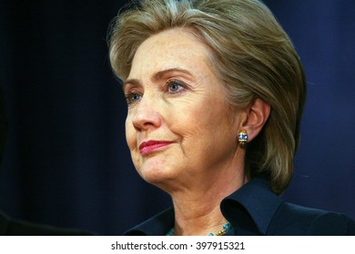 Commerce, California, USA, Jan 11, 2008; Democratic Presidential contender Hillary Clinton pictured during a campaign stop at the IBEW-ETI Training Site in Los Angeles, California.