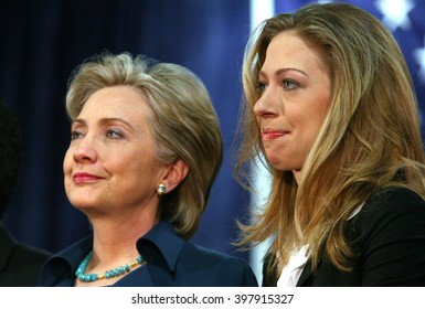 Commerce, California, USA, Jan 11, 2008; Democratic Presidential contender Hillary Clinton and Chelsea Clinton pictured during a campaign stop at IBEW-ETI Training Site in Los Angeles, California.