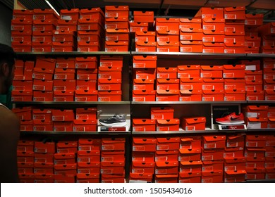 Commerce, California/United States - 08/05/2019: A background of Nike shoe boxes