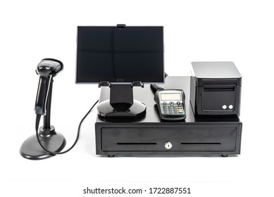 Commerce - cash equipment on a white background