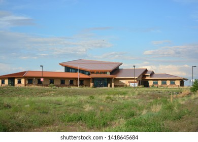COMMERCE CITY, COLORADO, USA: June 4, 2019: Pat Schroeder Visitor Center is a museum facility on the grounds of the Rocky Mountain Arsenal National Wildlife Refuge outside Denver, Colorado.