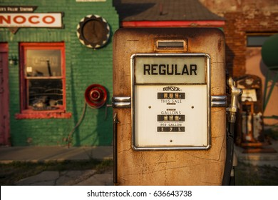 Commerce, Oklahoma - July 7, 2014: Detail of a gas pump in an old gas Conoco Gas Station along the historic Route 66 in the town of Commerce, Oklahoma, USA.