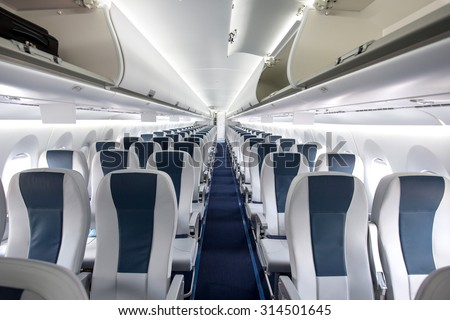 Commercial Aircraft Cabin Rows Seats Down Stock Photo