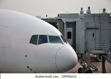 Commercial airliner waiting at airport