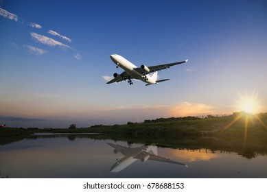 Commercial airplane approach ready to landing