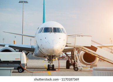 Commercial airplane beying prepared for next flight. Detail of front pilots cabine