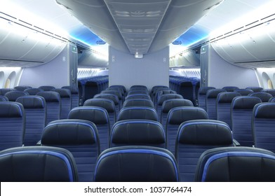 commercial airplane cabin interior