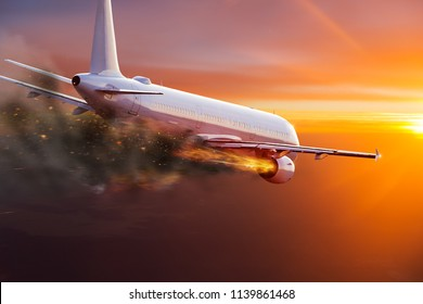 Commercial airplane with engine on fire, concept of aerial disaster.