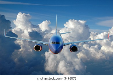 Commercial airplane in flight