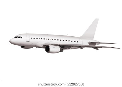 commercial airplane isolated on white background