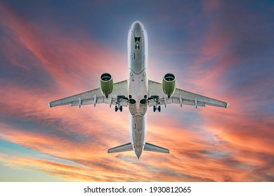 Commercial airplane jetliner flying above dramatic clouds in beautiful sunset light. flight travel transport airline background concept. Airplane in the sunset sky