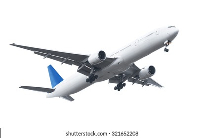 Commercial airplane on white background with clipping path