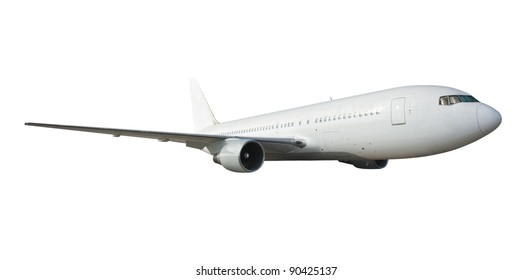 Commercial airplane on white  with clipping path