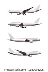 commercial airplanes isolated on white background
