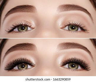 Commercial beauty college of before and after eyelash extensions. Perfect shape of eyebrows, extreme long eyelashes. Closeup macro shot of fashion eyes visage