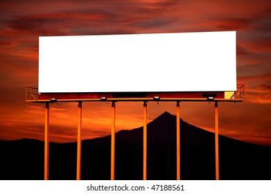 Commercial blank billboard dusk cloudy sky on background