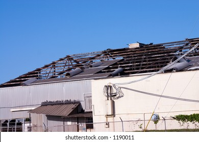 Commercial building destroyed by hurricane winds