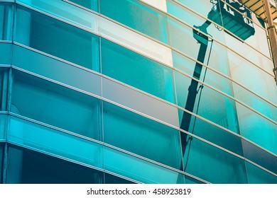 Commercial building exterior close up