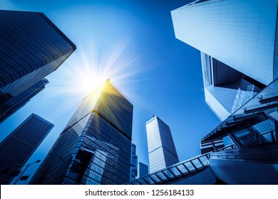 Commercial buildings in Hongkong are low angle, China,