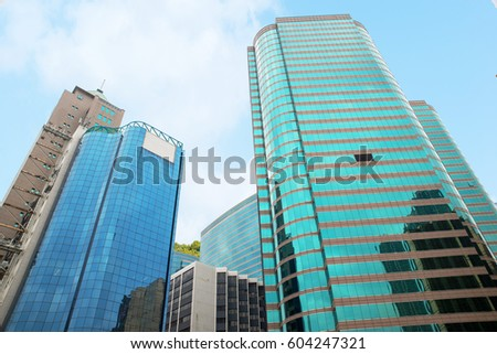 Commercial Buildings Office Buildings Beautiful Glass Stock Photo