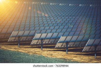 Commercial Concentrating Solar Power CSP Plants. Solar Energy Renewable Energy Theme. Solar Reflectors Closeup.
