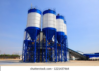 Commercial concrete mixing plant mechanical equipment in a factory