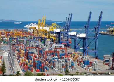 Commercial container port in Thailand.