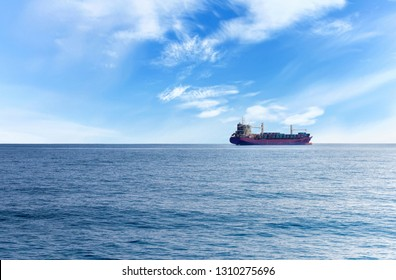Commercial container ship on the high seas
