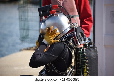 Commercial Diver with a helmet