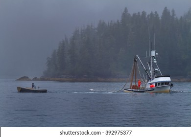 A commercial fishing boat seines for salmon in Prince William Sound near Valdez, Alaska