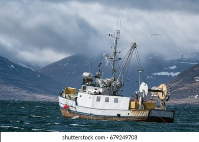 Commercial fishing vessel heading into a storm towards the end of Isafjordur fjord, Westfjords, Iceland