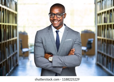Commercial friendly african american attorney, businessman, CEO, successful professional at office