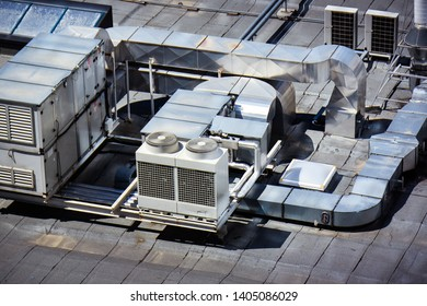 Commercial HVAC - heating ventilation and air conditioning system on building rooftop