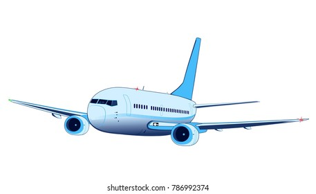 Commercial jet airplane in flight (in-flight, during the flight). Airliner with two engines flying . Front side view.
