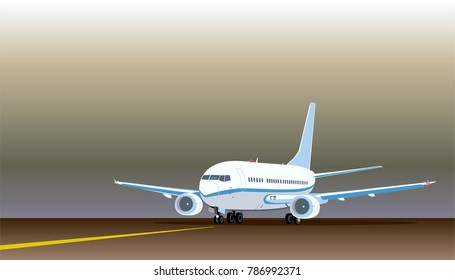 Commercial jet airplane on on the runway after landing (before take off). Airliner with two engines. Front side view.