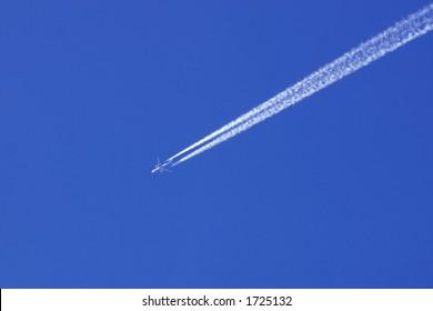 Commercial jet in sky