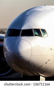 Commercial jetliner long distance airliner.