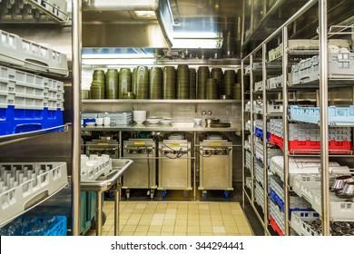 Commercial kitchen dishwashing area